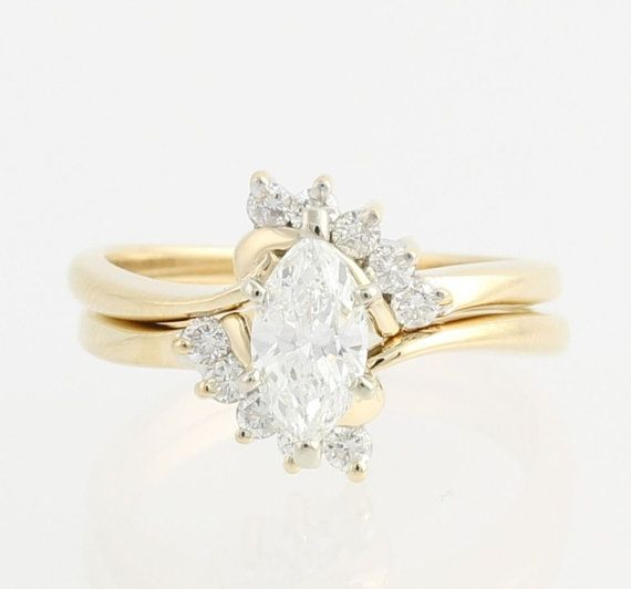 Marquise Diamond Engagement Ring & Wedding Band Set - 14k Yellow Gold .94ctw F9245