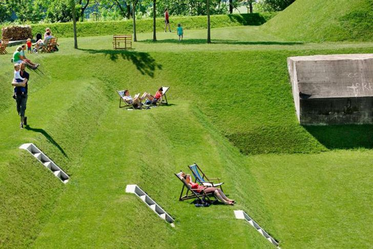 Sunken Fort Werk Aan't Spoel to be Transformed into Gradated Public Park in the Netherlands