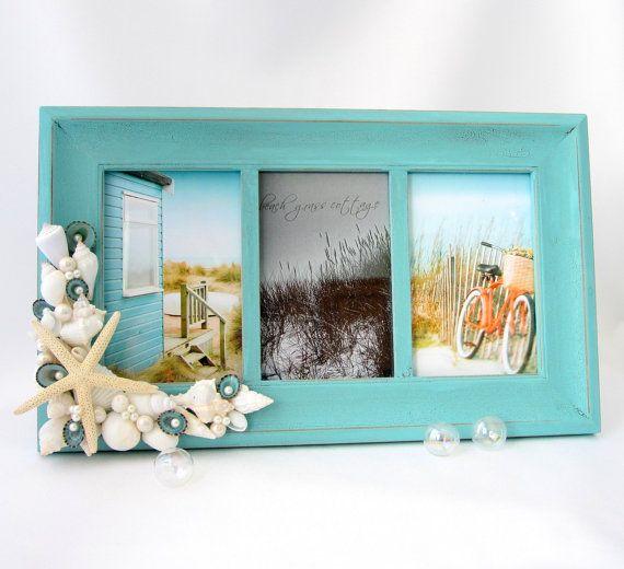 Beach Decor Seashell Frame - Nautical Aqua Collage Frame w Shells & White Starfish - (3) 4x6 on Etsy, $69.00