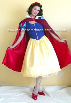 Homemade Snow White Costume: I made this homemade Snow White costume from a pattern. I shortened the skirt and put a petticoat underneath to give it a rockabilly look. I also used