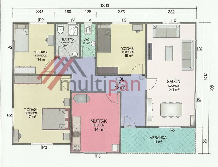 MP8 122 Square Meters Separate Lounge / Kitchen 3 Bedrooms 1 Bathroom
