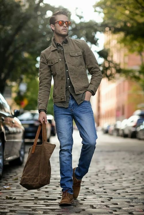 Pair an olive longsleeve shirt and a dark brown denim jacket to get a laid-back yet stylish look. Channel your inner Ryan Gosling and opt for dark brown suede derby shoes to class up your look.  Shop this look for $90:  http://lookastic.com/men/looks/sunglasses-and-longsleeve-shirt-and-denim-jacket-and-tote-bag-and-derby-shoes/3778  — Red Sunglasses  — Olive Longsleeve Shirt  — Dark Brown Denim Jacket  — Dark Brown Canvas Tote  — Dark Brown Suede Derby Shoes