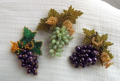 "Grape Bunches + Leaves + Tendrils  Брошь "" Виноград """