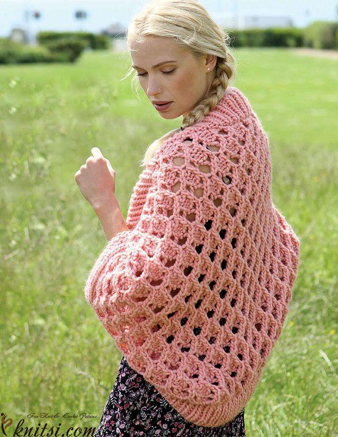 Ladies Shrug Knitting Patterns : Womens shrug knitting pattern free knitsi.com/knitting-bolero/330-womens...