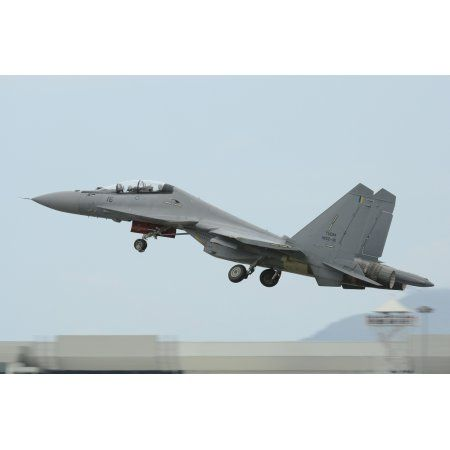 A Sukhoi Su-30MKM of the Royal Malaysian Air Force taking off Canvas Art - Remo GuidiStocktrek Images (18 x 12)