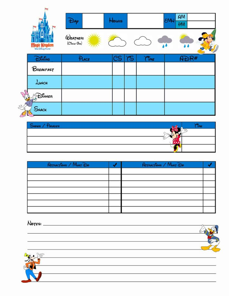 Disney World Planning Pages - EMH stands for Extra Magic Hours, CS stands for Counter Service, TS stands for Table Service, and ADR stands for Advanced Dining Reservation