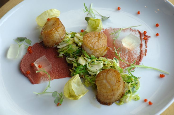 Pan Roasted Scallops: with brussel sprouts 3 ways, cider gelee, and spiced pearls
