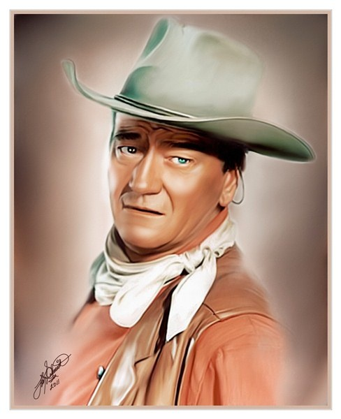 """""""John Wayne,"""" oil painting, 2011. Legendary film star who single-handedly tamed the West and won WW2."""