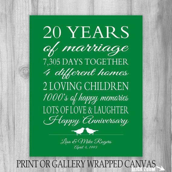 20th anniversary gift 20 year anniversary gift canvas print gift