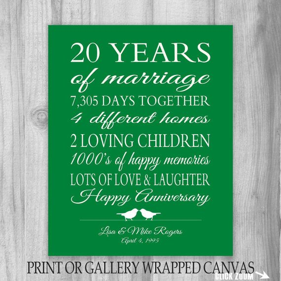 20 Year Wedding Anniversary Gift Ideas: 20th Anniversary Gift 20 Year Anniversary Gift Canvas