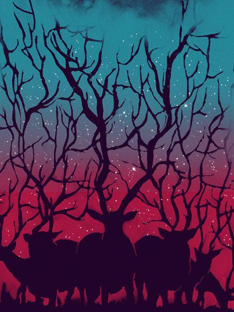 "Deer, Forest, Stars, Night, Sky, Art Print, Illustration, Poster 18"" x 24""."