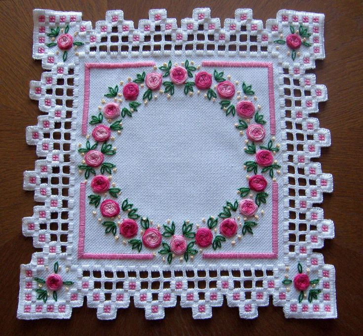Doily in Hardanger and colored embroidery *variant 1* 100%handmade & New