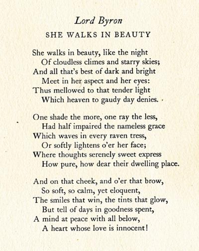 She walks in beauty, like the night