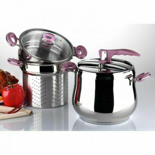 Material: oțel inoxidabilsimaterial plastic Include: 1 x oala oala sub presiune, capac oala 1 presiune, 1 aburitor mare, capac din sticlă 1, un aburitormic. Capacitate: 7 litri Greutate brută: 4,4 kg Greutate neta: 3.37 kg Potrivit pentru: gaz, electrice, ceramică și mașini de gătit cu inducție.