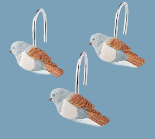 Saturday Knight Ltd Faithful Birds Shower Curtain Hooks Bird