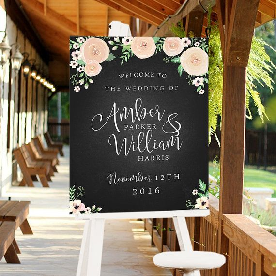 CUSTOM, Printable, Digital Wedding Sign, Welcome Sign for Event, Chalkboard Style Watercolor White Roses Ranculus Flowers