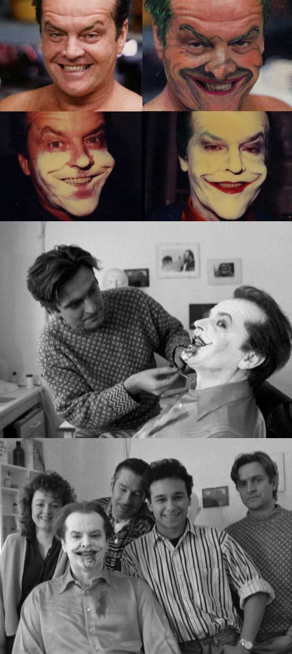Jack Nicholson getting his makeup done to be the Joker in Batman | Rare and beautiful celebrity photos