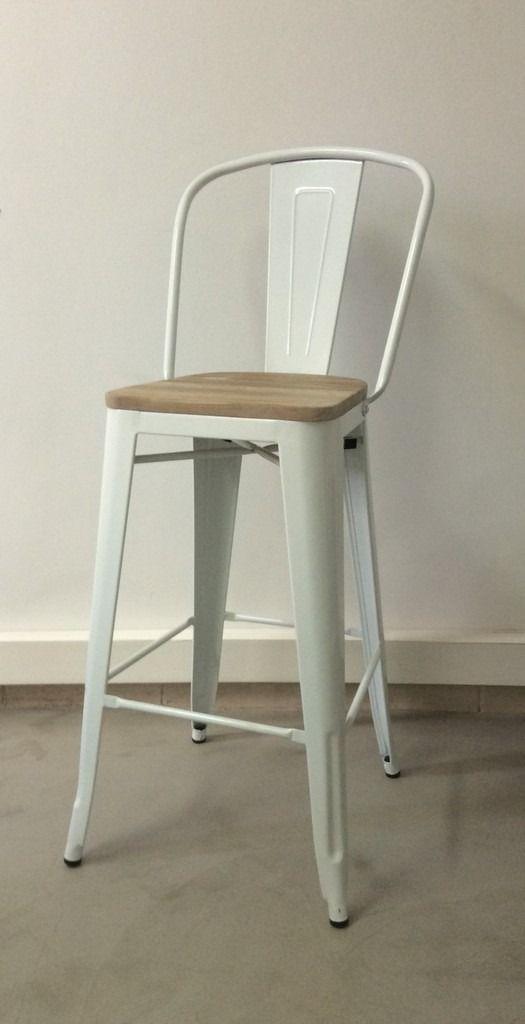 Banqueta con respaldo tolix blanca con asiento de madera for Banquitas de madera para jardin