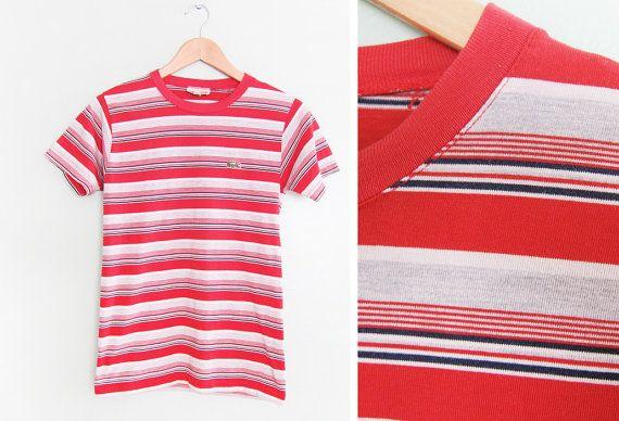 vintage t shirt / striped / thin / 1990s multi stripe Lacoste t shirt Small