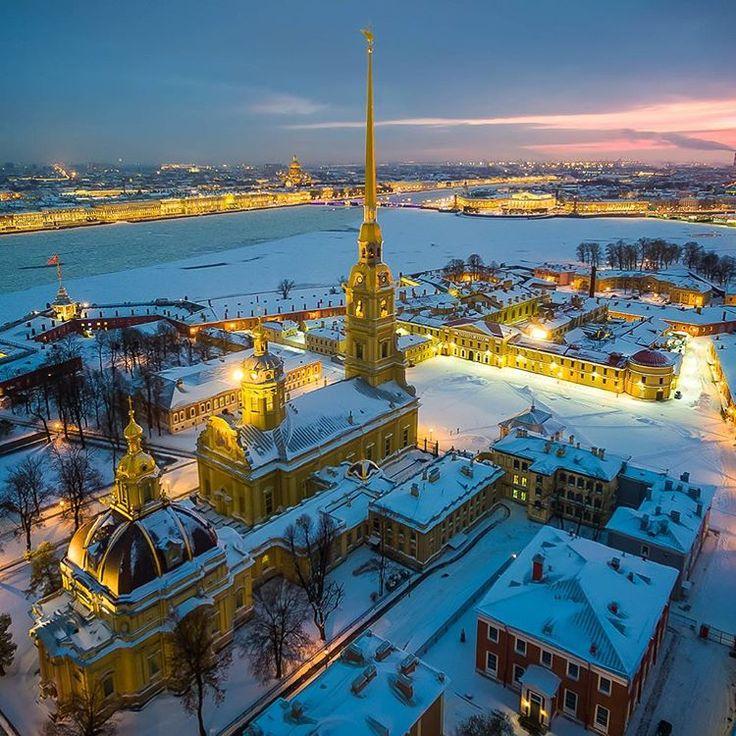 Saint-Petersburg in winter, Russia. Sunset urban city lights fairytale  east Europe
