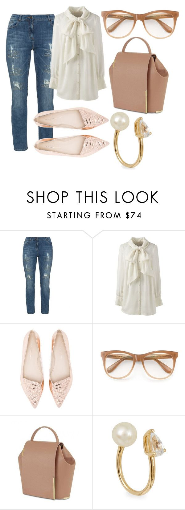 """""""plus size ada"""" by aleger-1 ❤ liked on Polyvore featuring aprico, Lands' End, Sophia Webster, Wildfox, Anissa Kermiche and plus size clothing"""