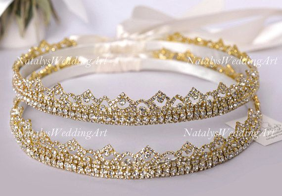 Stefana Gold or Silver plated Greek Crowns Crystal Orthodox Wedding by NatalysWeddingArt