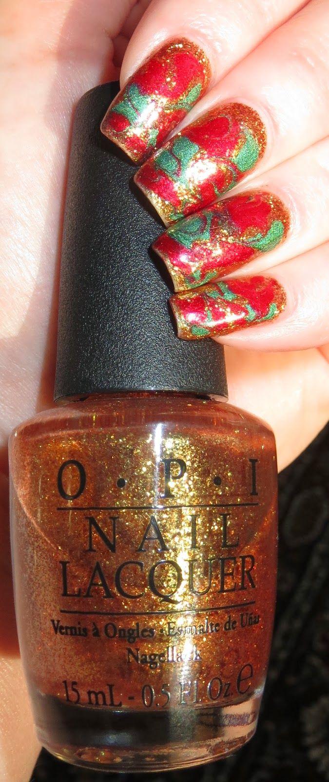 Christmas Dry Marble Nail Art #NailArt #Christmas #Holidays #Nails #Manicure #OPI #MarbleNails #DryMarbleNails #Nubar #Reclaim #Goldeneye #SephoraByOPI #SampleSale #DottingTool #Festive #EasyNailArt
