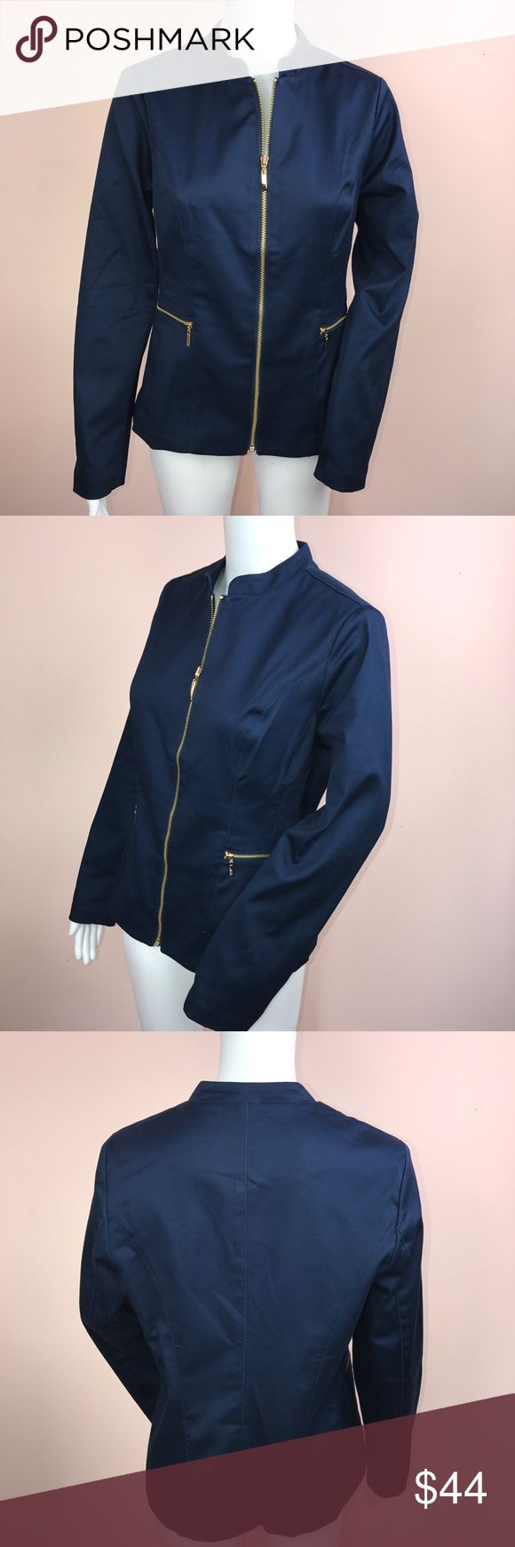 "Charter Club Blazer Size 6 Blue Zip Up New This listing is for a Charter Club Womens Jacket 6 Blue Zip Up Blazer Career NEW.  MSRP: $89.00 gold exposed zip up closure, gold zip up front pockets 60% cotton 37% polyester 3% spandex machine wash cold, tumble dry low armpit to armpit 19"" length 24"" shoulder to shoulder 15"" sleeve length 24""  sku: 010218-FOX1217-0842 Charter Club Jackets & Coats Blazers"