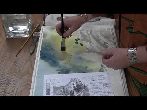 Watercolor tutorial lesson with Gayle Weisfield - Fir Trees
