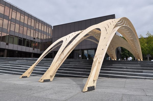 Created in a collaborative effort by students of the ETH and the AA, this temporary timber construction was designed to provide shelter from the sun.