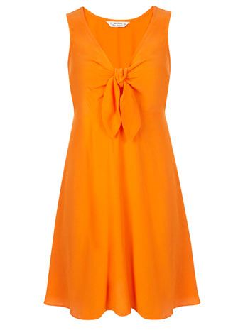 Petites Orange Tie Front Dress