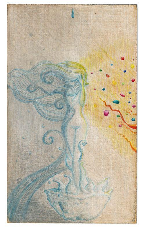 """Isla9/Ayl """"...dos resplandores acoplados que aparecían y desaparecían de repente; aún no había comprendido qué eran y ya corría enamorado siguiendo los ojos de Ayl.""""  (Sin colores, Italo Calvino, Las Cosmicomicas)   Algunos días de abril, entre recreos. Lápices de color sobre madera."""