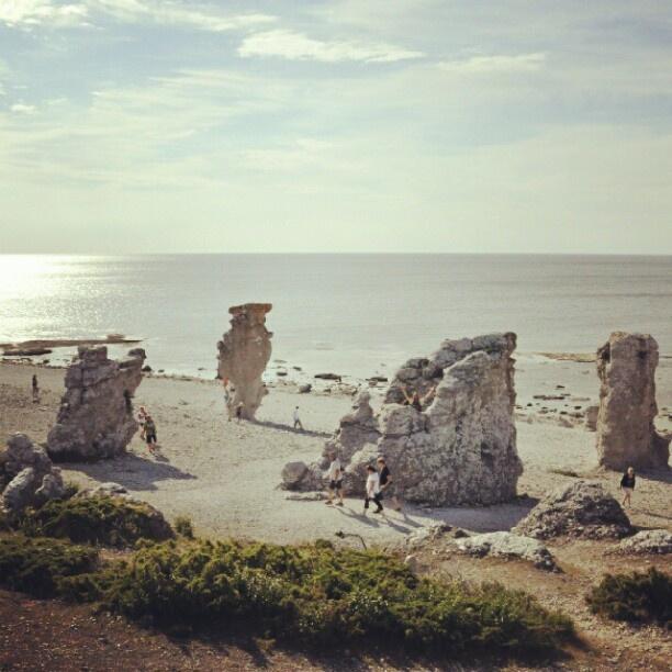 """Stonestacks called """"Raukar"""" at Langhammar, island of Fårö, Gotland, Sweden."""