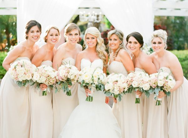Pale Champagne Bridesmaids Dresses | photography by http://justindemutiisphotography.com