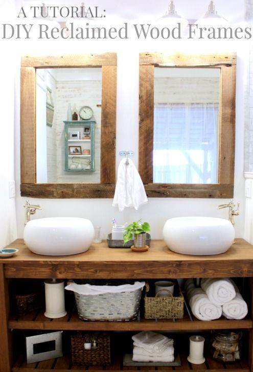 Diy Reclaimed Wood Frames Beautiful Rustic Modern And Double Sinks