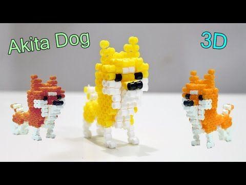 Cane Akita 3D con Hama Beads/Perler Beads 3D Dog Akita /Puppy Animals - YouTube