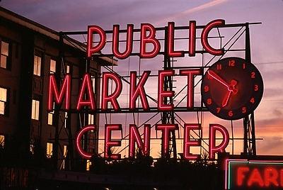 Market sign at sunset, 2000
