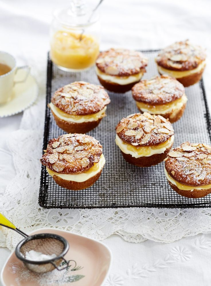Gorgeous moist cakes get filled with lemon curd and mascarpone, topped witha dusting of icing sugar. Simple and delicious.