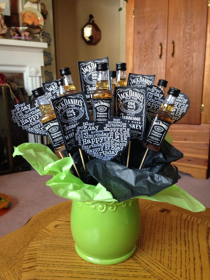 I got this idea from Pinterest and made it my own. Other people said that I should pin mine. My friend really likes Jack Daniels, so I made it for her birthday.