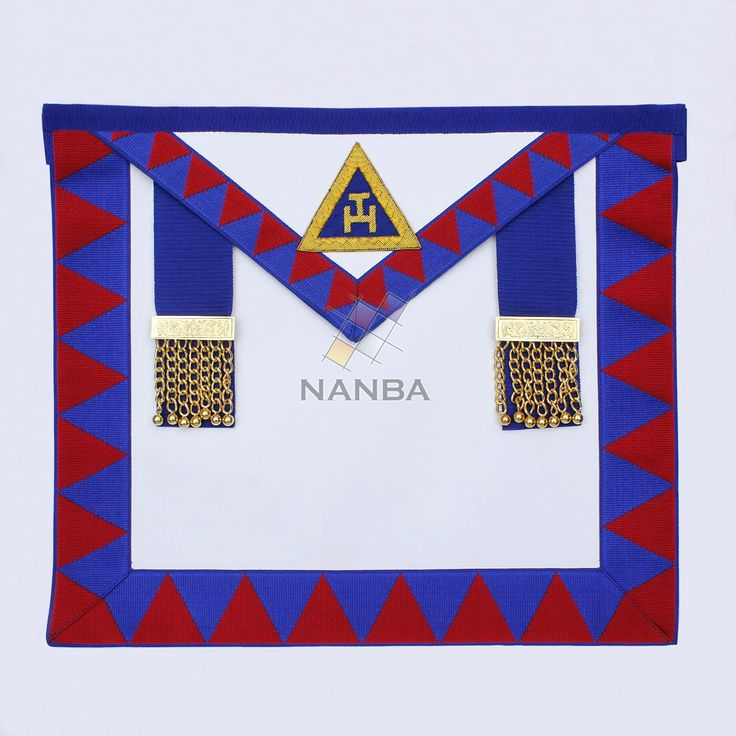 Royal arch provincial apron is made of white leather. It has diamond ribbon  in maroon