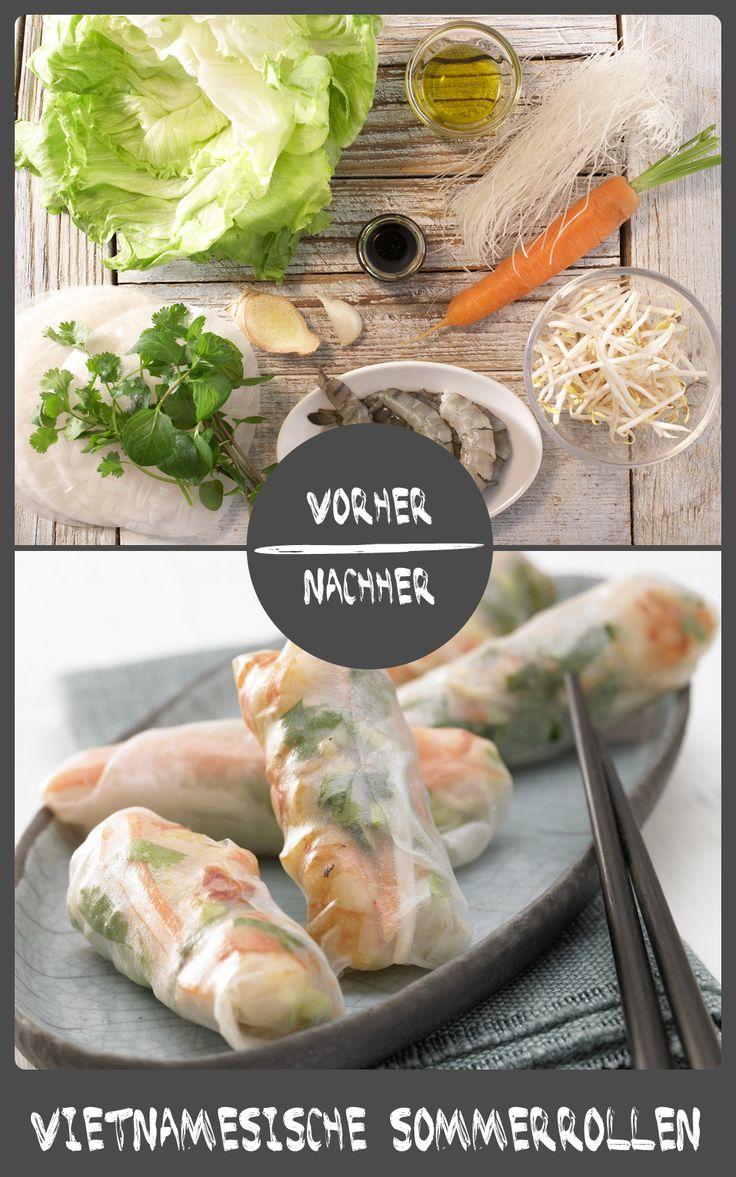 Garnelenröllchen - Diese vietnamesischen Sommerrollen mit Garnelen sind sehr kalorien- und fettarm und somit äußerst figurfreundlich.