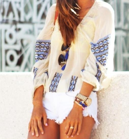 : Blouses, White Shorts, Summer Outfit, Summer Looks, Summer Style, Shirts, Boho, Jeans Shorts, Summer Clothing