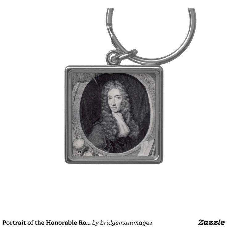 Portrait of the Honorable Robert Boyle Silver-Colored Square Key Ring