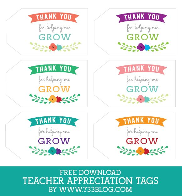 Thanks for helping me grow Gift Tag - Teacher Appreciation Tags