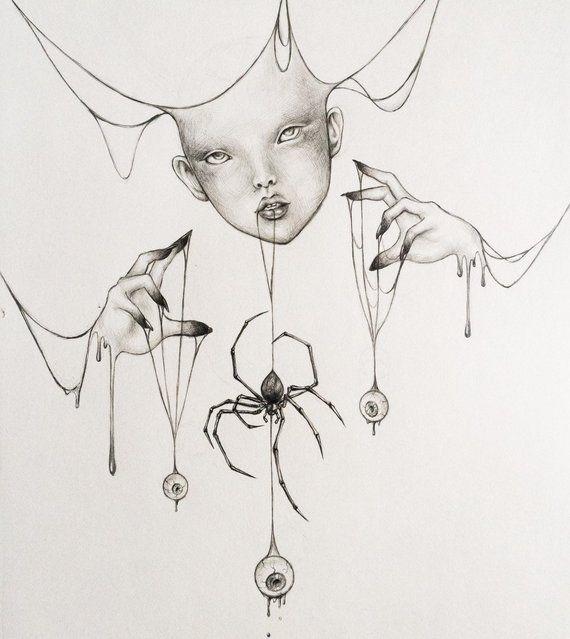 Original drawing Girl with spider web and eyeballs dark gothic art surreal giclée art print gothic home decor dark fantasy dark fairytale – || ARTE ||