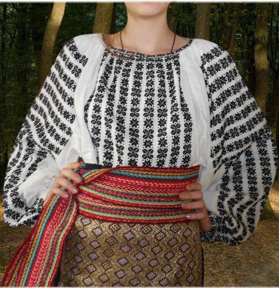 Romanian Costume Blouse DRESS SKIRT folk SCA by Kraftangel, $120.00