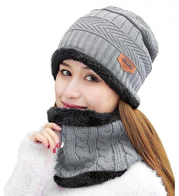 655d067c Womens Beanie Winter Hat Scarf Set Slouchy Warm Snow Knit Skull Cap ...