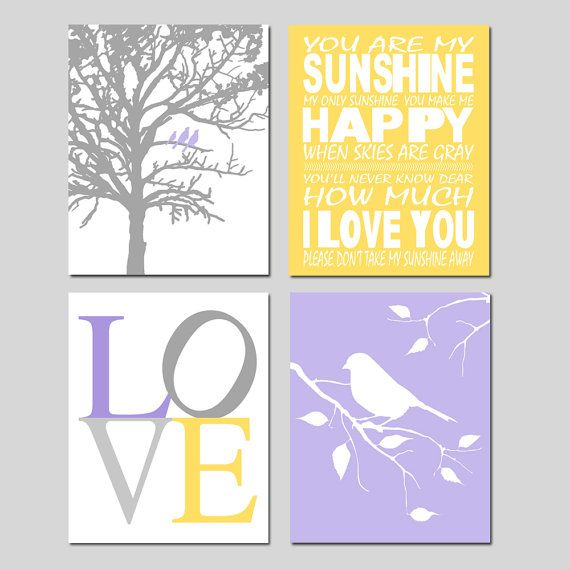 Lavender Purple Yellow Gray Nursery Art Quad  You Are by Tessyla, $75.00