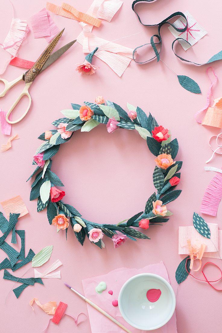 Diy paper flower wreath ruffled - Diy Paper Flower Wreath Ruffled 39