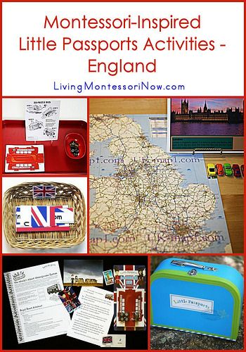 Ideas of Montessori-inspired activities for a study of England, including activities from the Little Passports England package